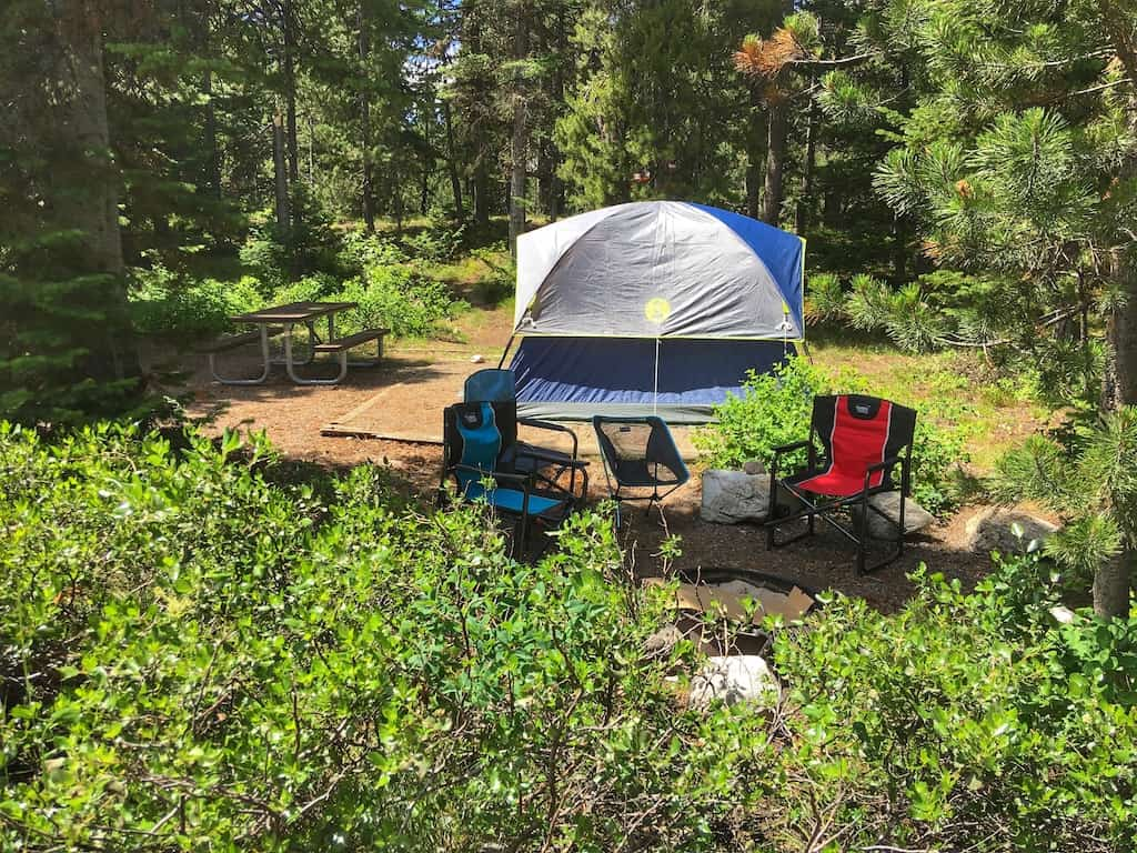 A tent site at Jenny Lake Campground in Grand Teton National Park