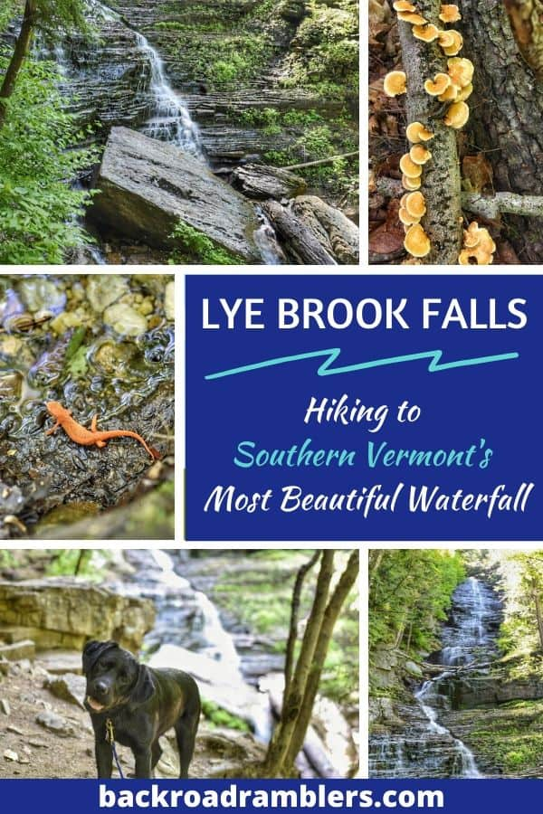 A collage of waterfall photos. Caption reads: Lye Brook Falls: Hiking Southern Vermont's Most Beautiful Waterfall.