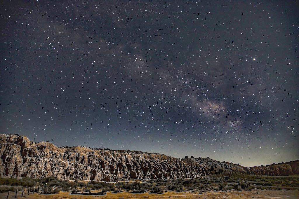 The milky way over Cathedral Gorge State Park in Nevada