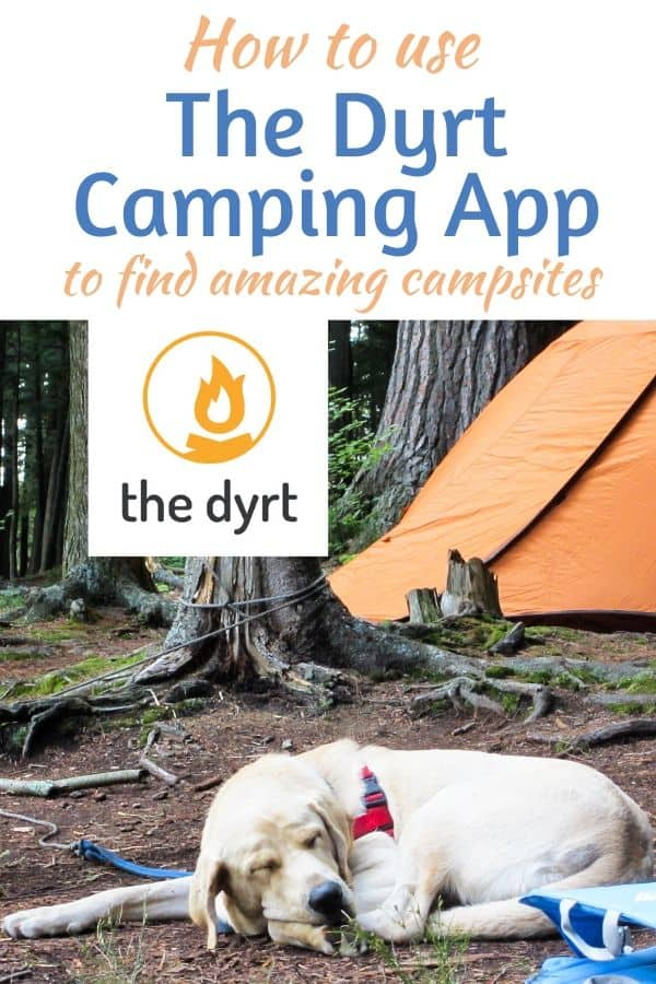 A dog lies in front of an orange tent. Caption reads: How to use The Dyrt Camping App to find amazing campsites.