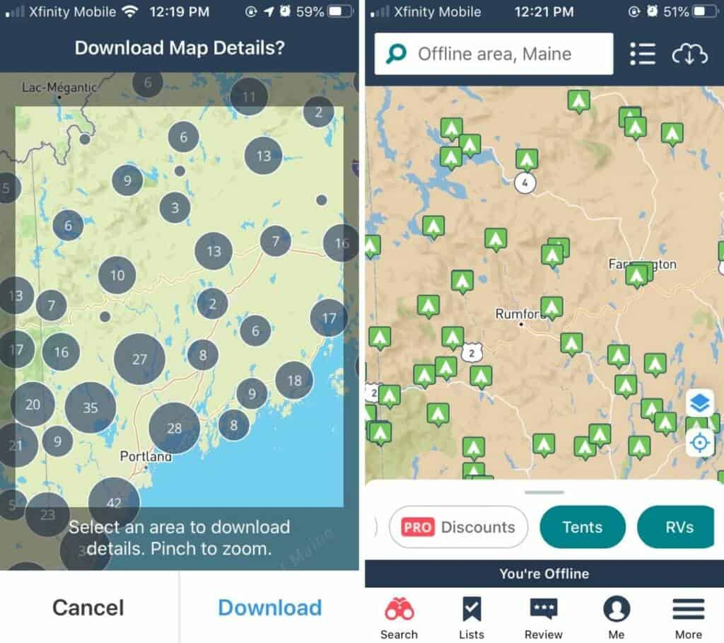 Two side-by-side screenshots of the offline maps feature in The Dyrt PRO camping app.