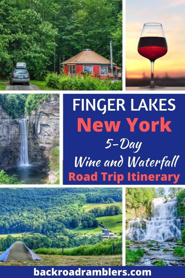 A collage of photos featuring wines and waterfalls in the Finger Lakes of New York. Caption reads: Finger Lakes, New York - 5-day Wine and Waterfall Road Trip Itinerary.