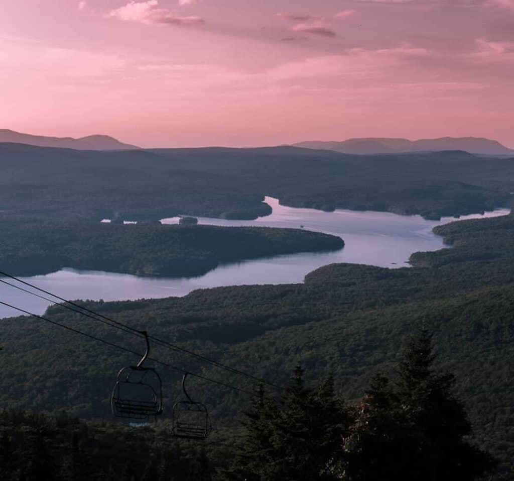 The view of Somerset Reservoir from the top of Mount Snow in West Dover, Vermont