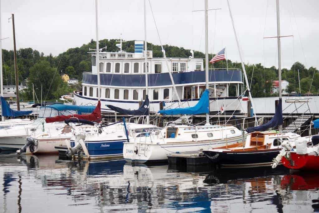 The busy marina in Newport, Vermont