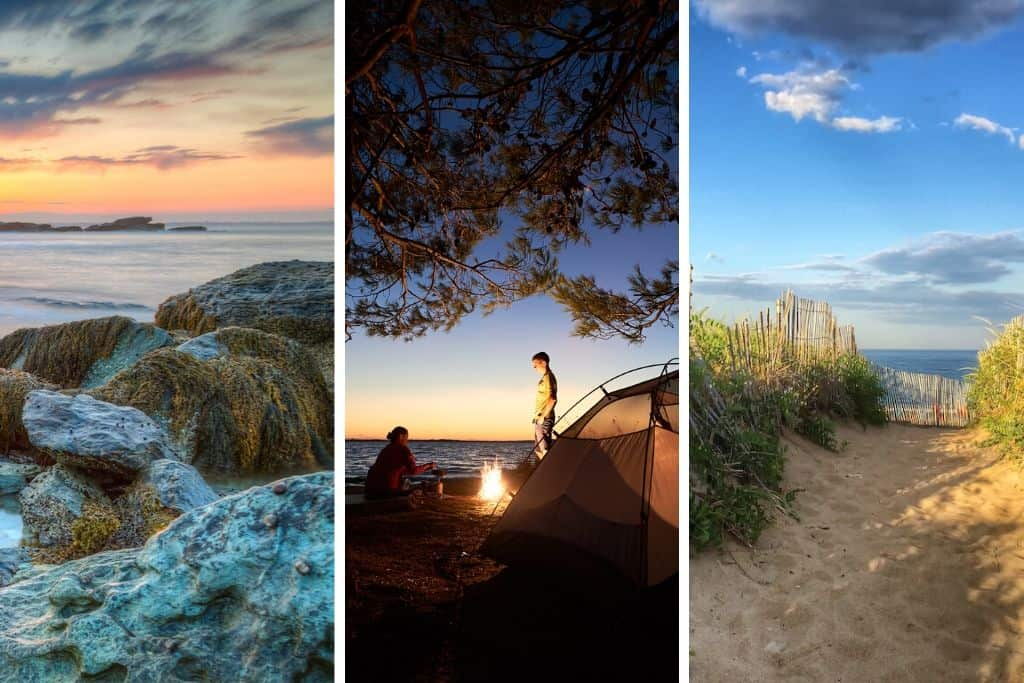 A collage of three photos featuring oceanfront camping in New England