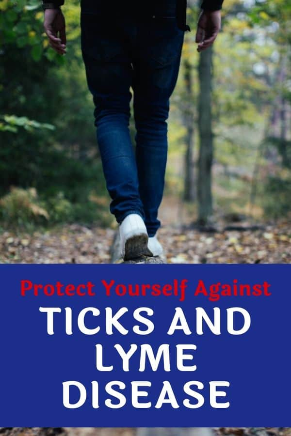 A close up of legs walking in the woods. Caption reads: Protect Yourself Against Ticks and Lyme Disease