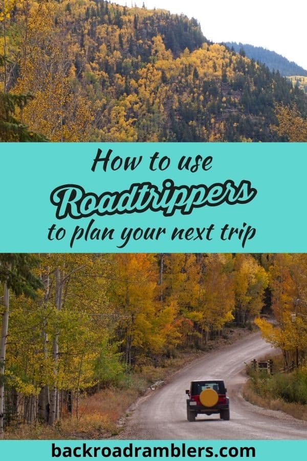 A fall scene featuring a jeep driving through a colorful forested road. Caption reads: How to use Roadtrippers to plan your next trip