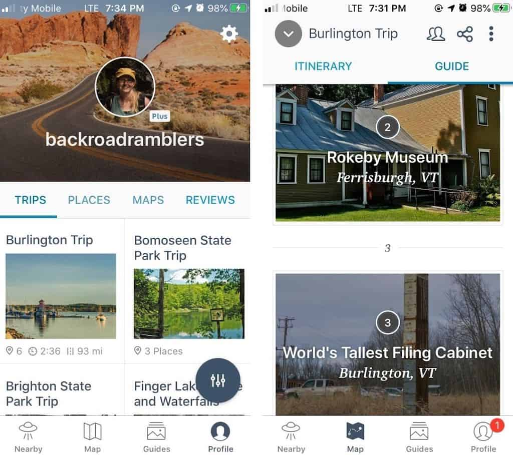 A screenshot of the Roadtrippers app in action