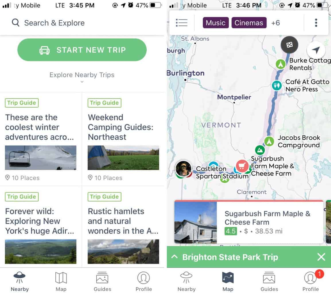 A screenshot showing how to start a new trip with the Roadtrippers app