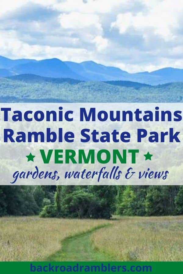 A view of the mountains from a meadow hiking trail. Caption reads: Taconic Mountains Ramble State Park in Vermont