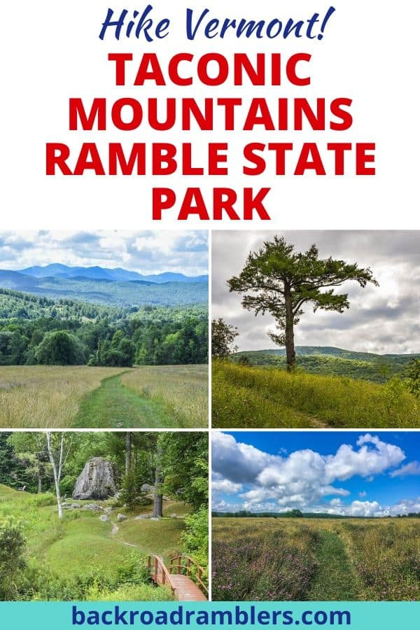 A collage of photos featuring the hiking trails at Taconic Ramble State Park in Vermont.