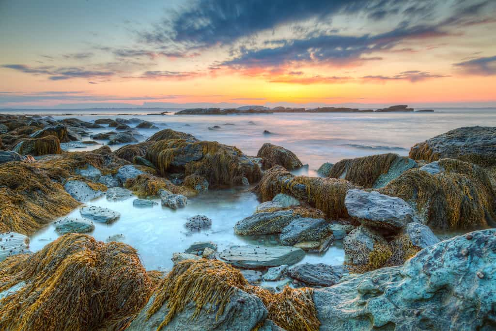 Sunrise on the ocean in Rhode Island