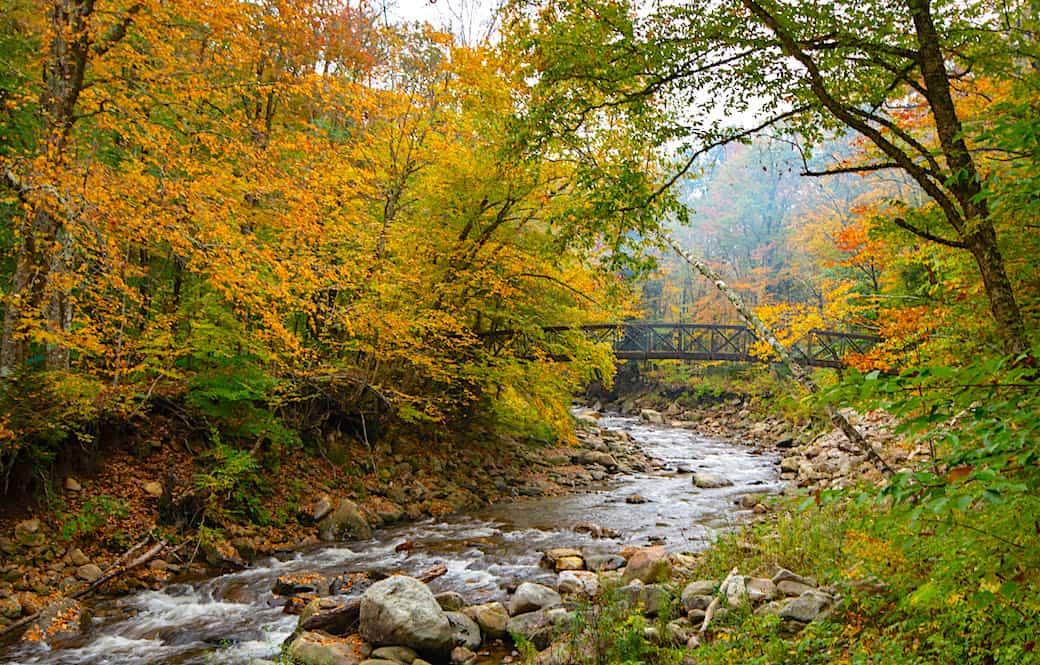 The Appalachian Trail footbridge in Woodford, Vermont during fall foliage season
