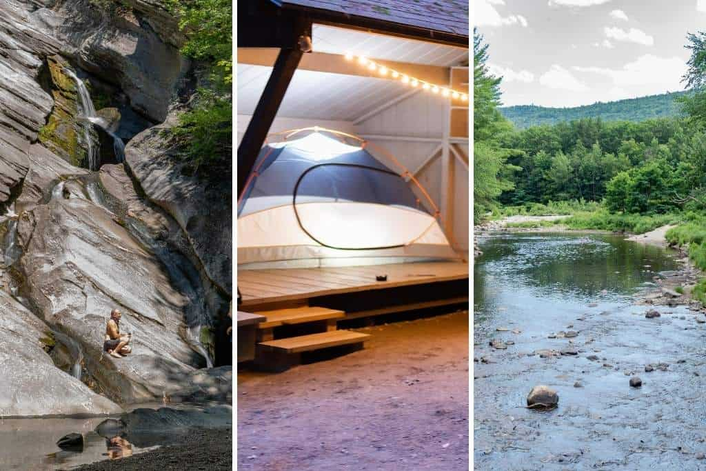 Three photos featuring the best of Jamaica State Park in Vermont - Hamilton Falls, a lit-up tent, and the West River