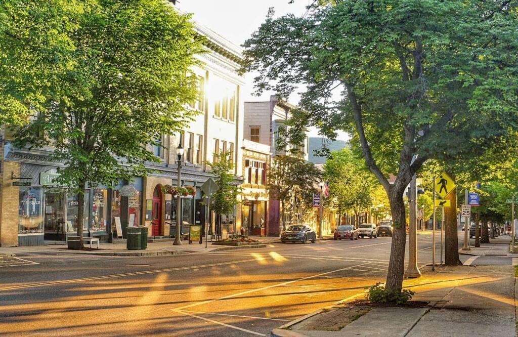 Downtown Bennington VT on a summer evening.