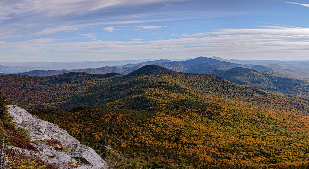 A fall foliage view from the top of Mount Mansfield in Stowe, Vermont