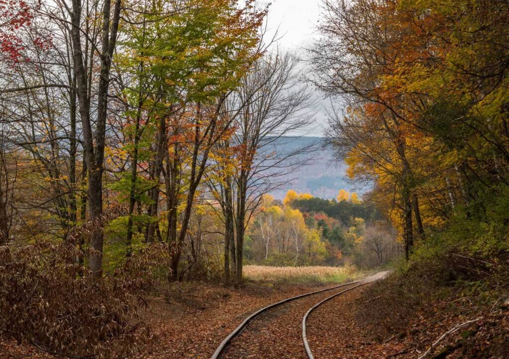 A train track meanders through the town of North Bennington, VT during fall foliage season.