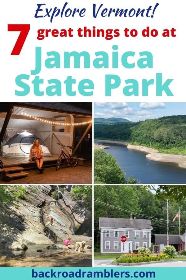 A collage of photos featuring Jamaica State Park in Vermont