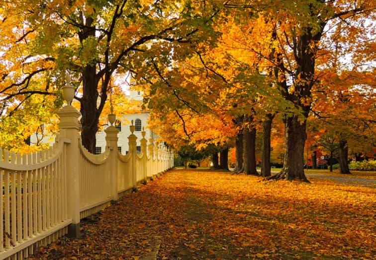 A white picket fence in Old Bennington, Vermont near the Old First Church.