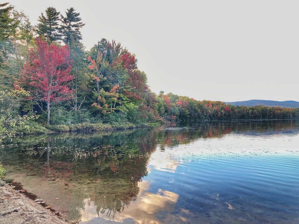 A fall foliage view from the Camper's Beach at Brighton State Park in Vermont's Northeast Kingdom.