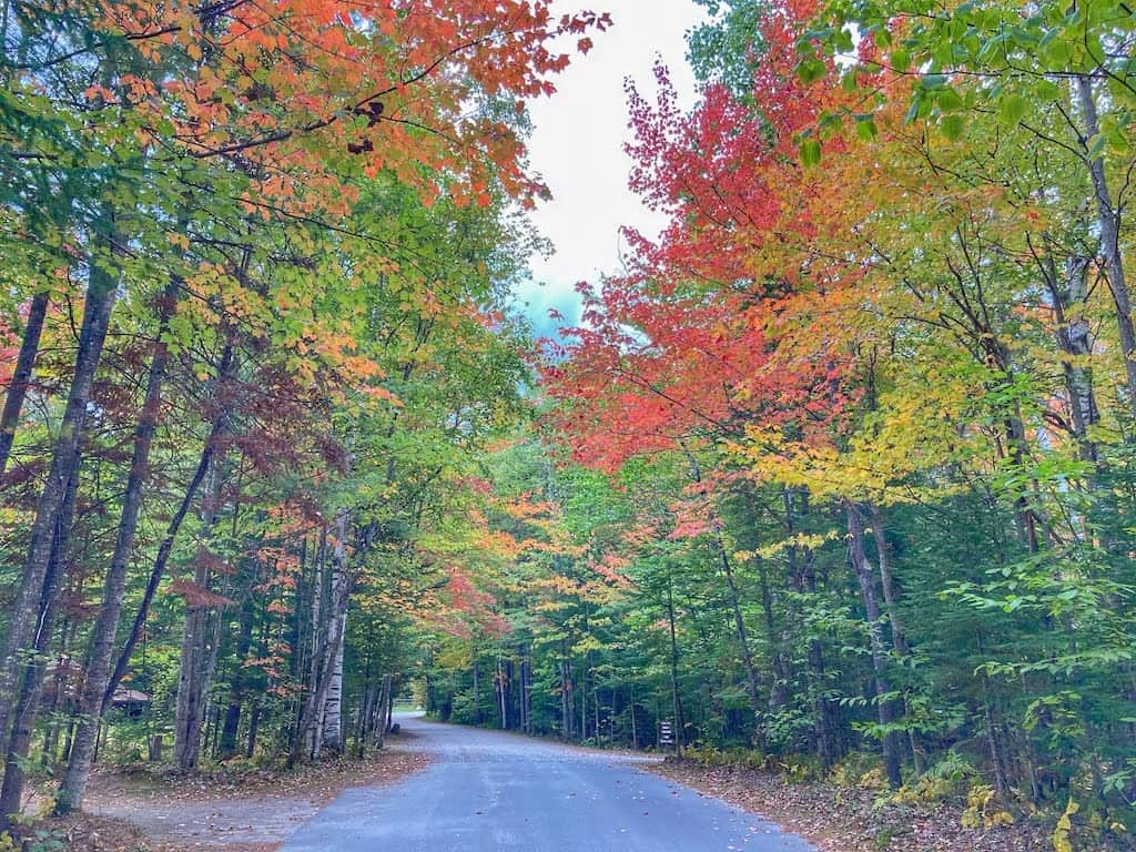 A back road with beautiful fall foliage in Island Pond, Vermont