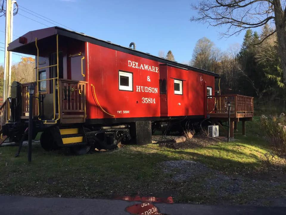 A caboose vacation rental in the Catskills of New York