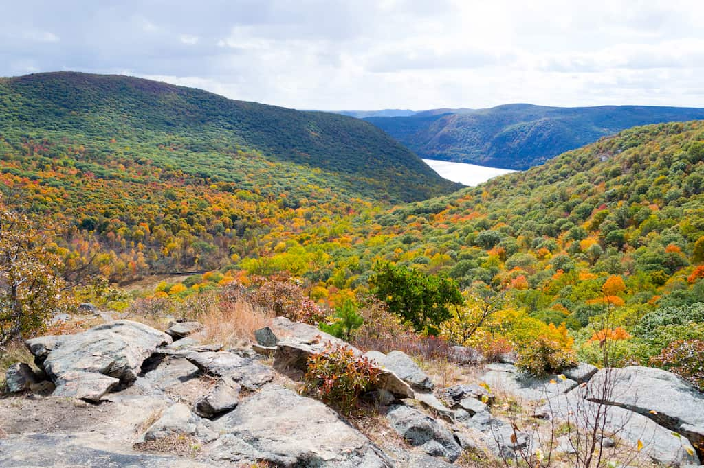 a fall view in the Catskill Mountains of New York
