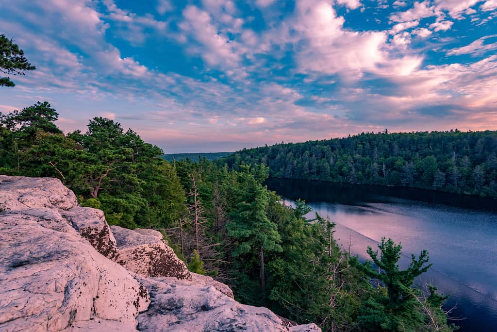 A sunset view of Lake Minnewaska in the Catskill Mountains of New York