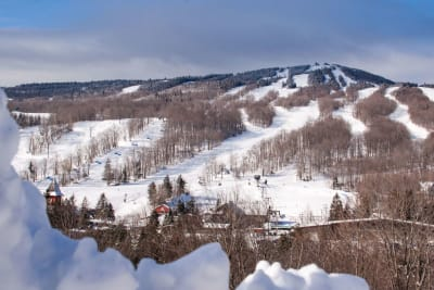 A winter view of Mount Snow Resort in West Dover, Vermont