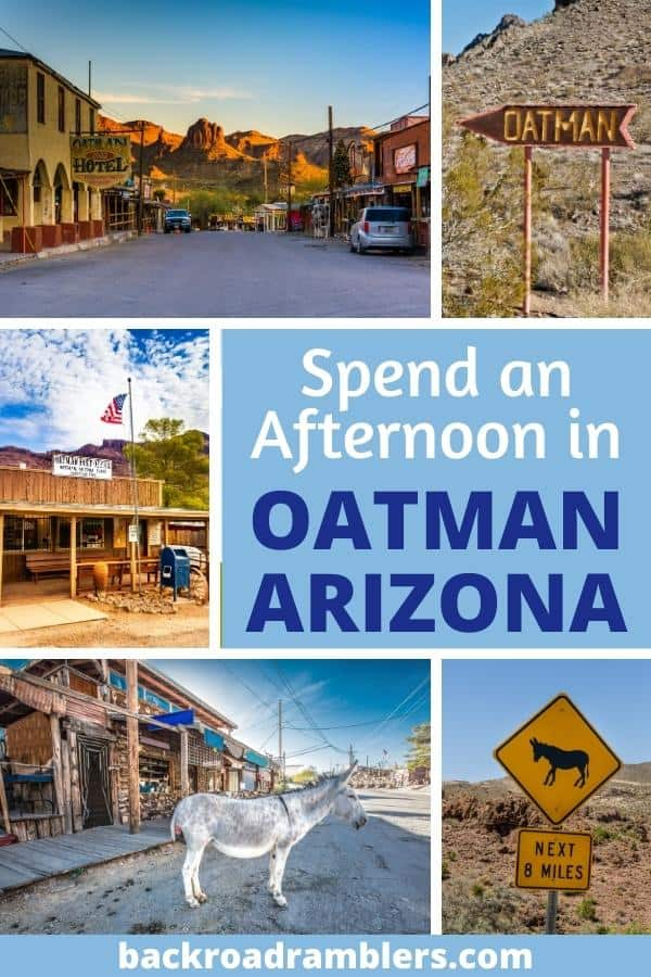 A collage of photos featuring Oatman Arizona