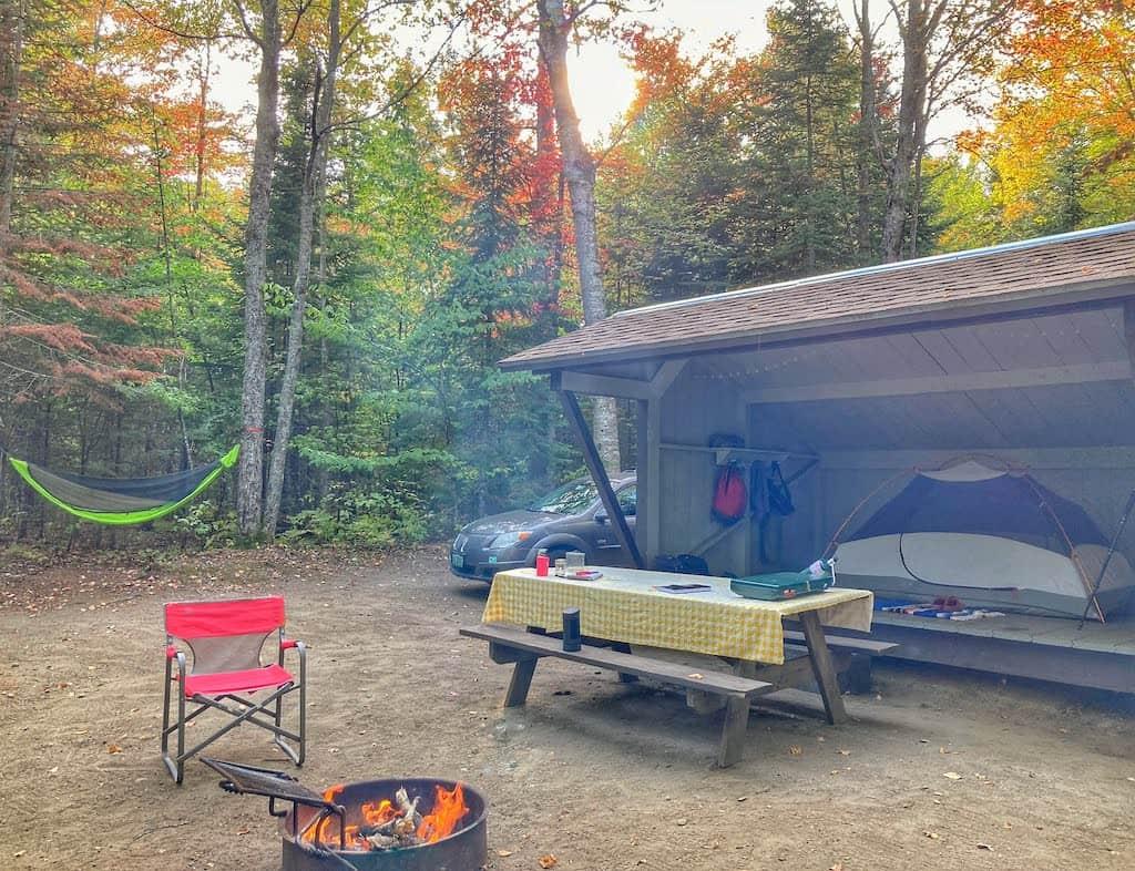 A lean-to campsite in Brighton State Park, Vermont