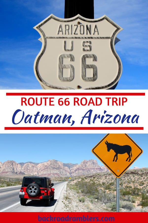 A collage of photos featuring Oatman AZ. Caption reads: Route 66 road trip - Oatman Arizona