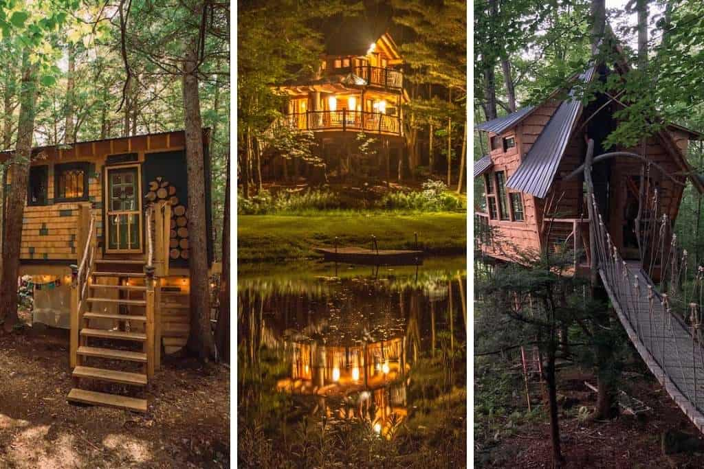 A collage of Vermont treehouse photos