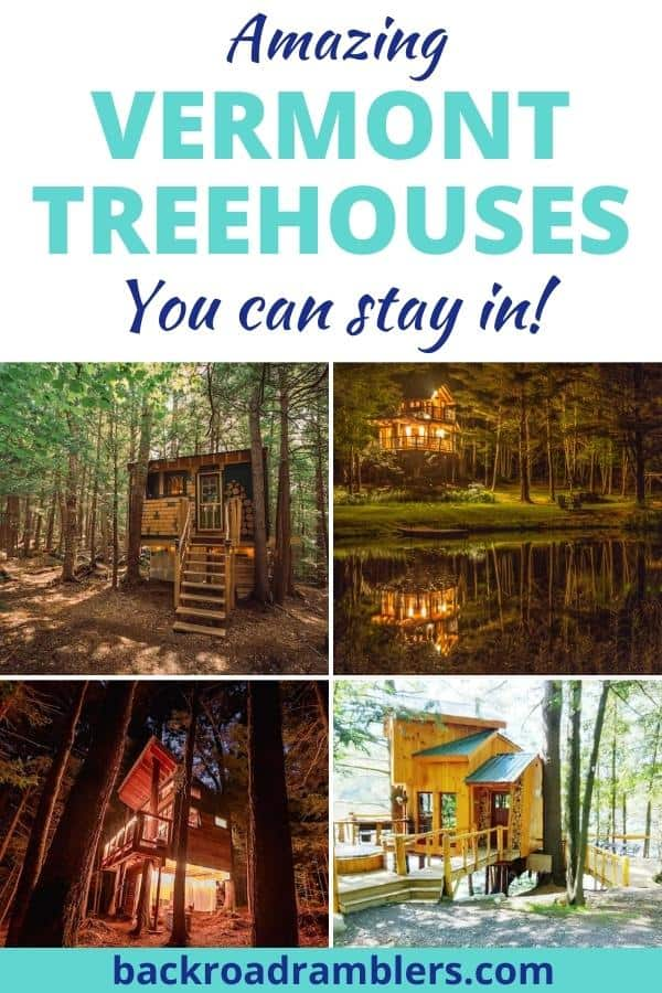 A collage of treehouse photos courtesy of Airbnb. Caption reads: Amazing Vermont Treehouses you can stay in