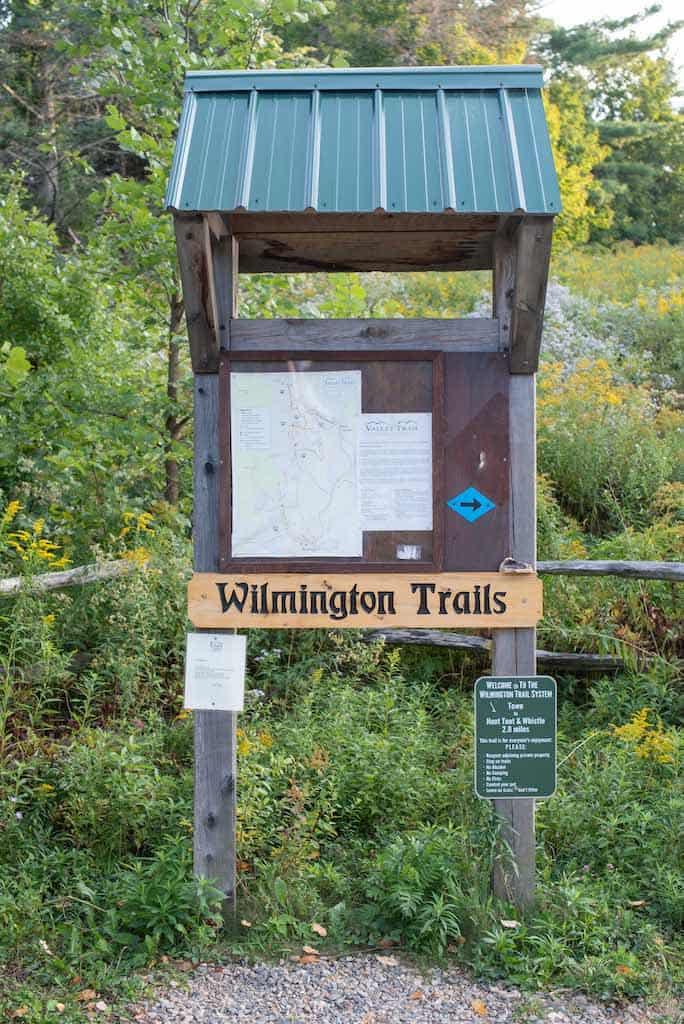 A trail kiosk in Wilmington Vermont