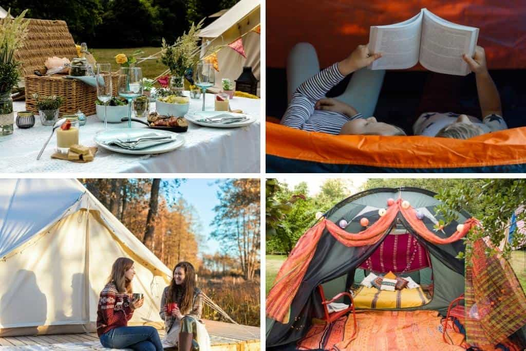 A collage of backyard glamping photos.