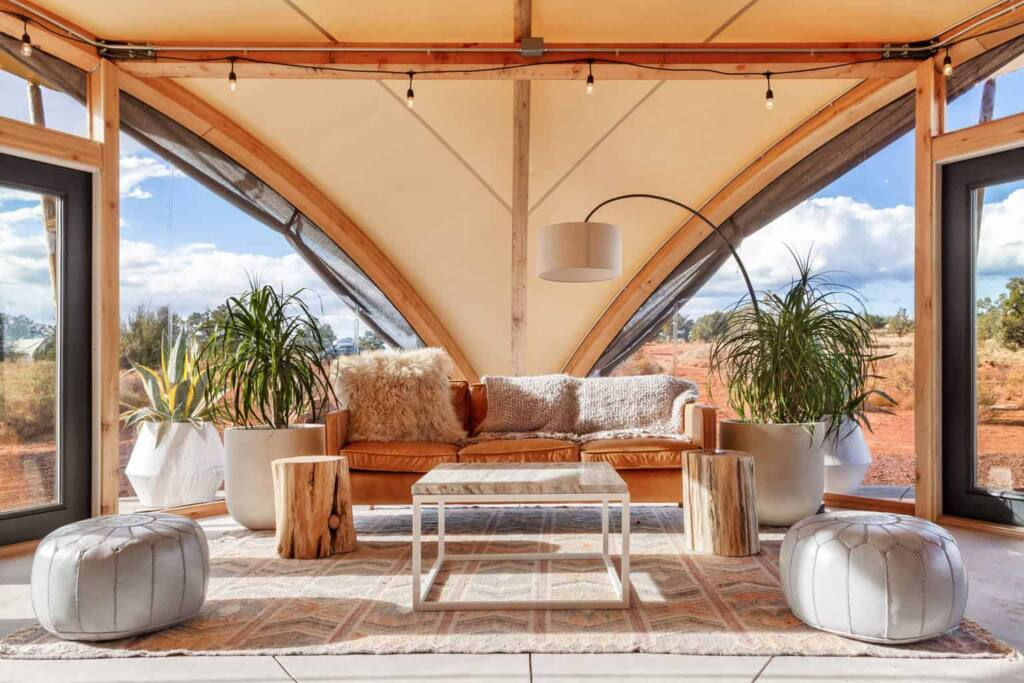 The interior of a glamping tent at Under Canvas Grand Canyon
