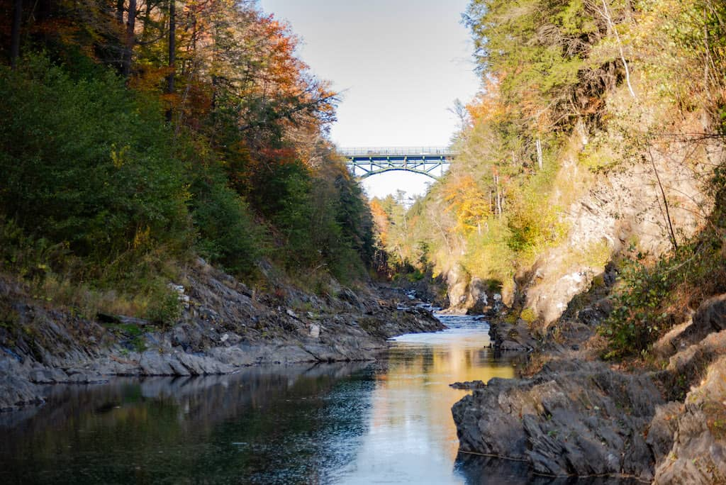 The Route 4 Bridge as seen from the bottom of Quechee Gorge in Quechee, Vermont