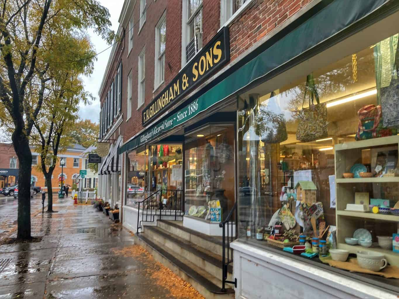downtown Woodstock VT on a rainy day