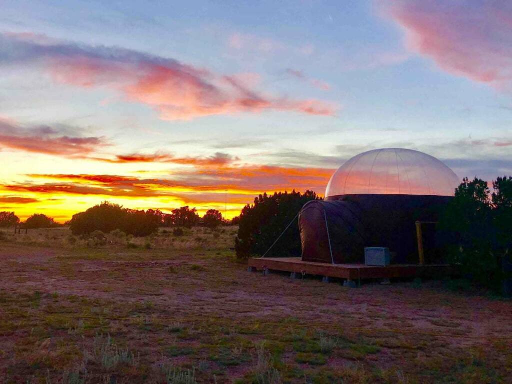 The Stargazer Dome glamping tent at sunset. Located near the Grand Canyon in Arizona.