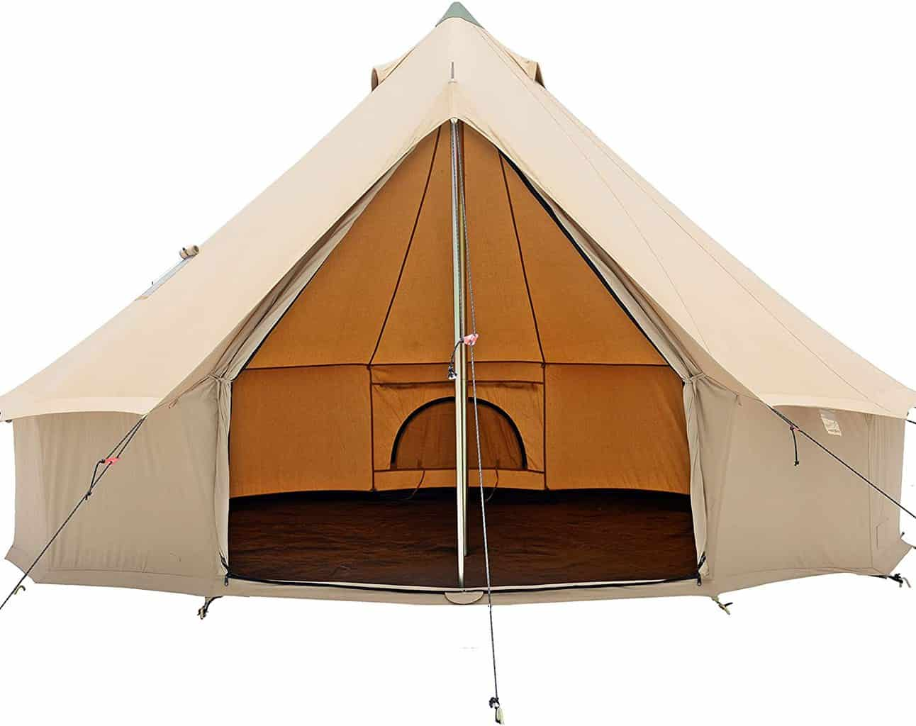 An empty glamping tent made by White Duck