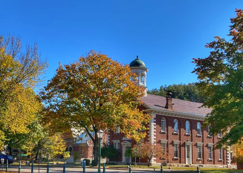 A historic building across from the town green in Woodstock, Vermont