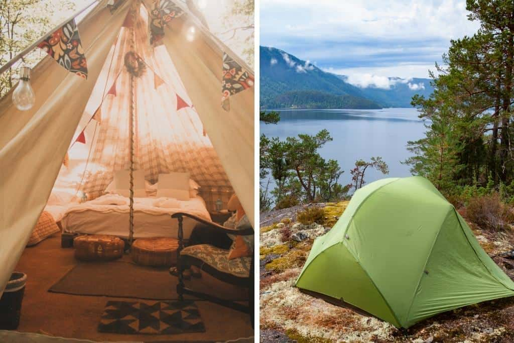 Two photos, one showing a fully decorated glamping tent, the other showing a small, plain tent used for camping.