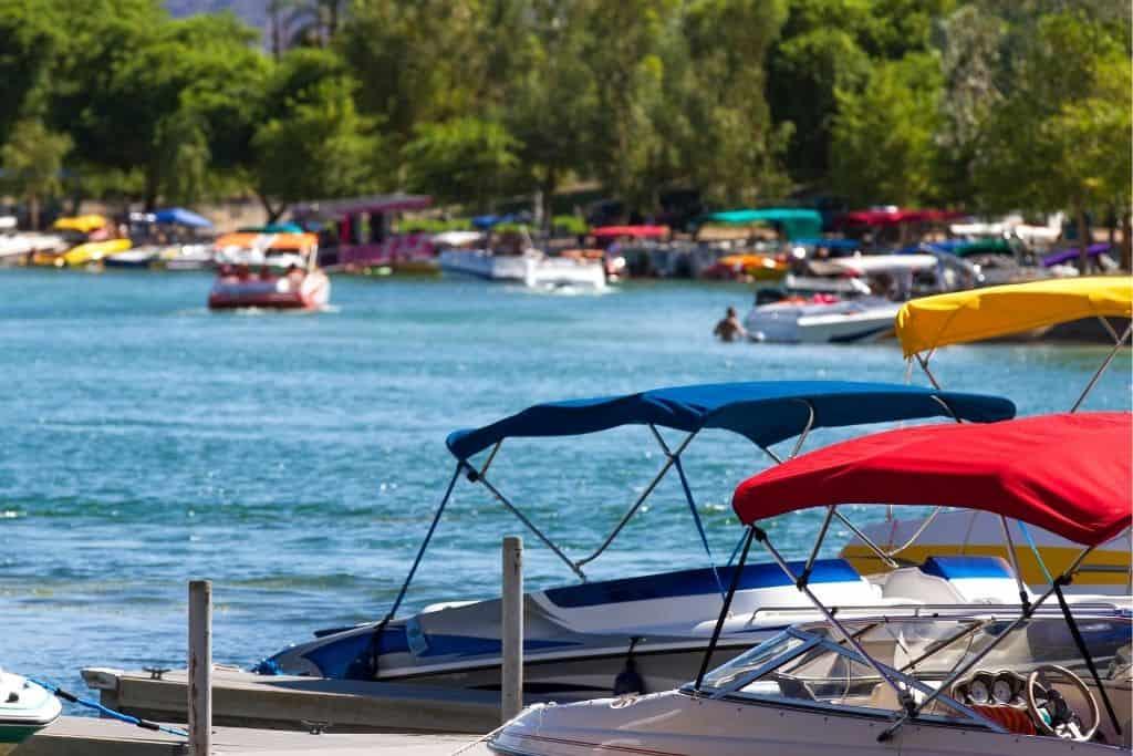 Several colorful boats in Lake Havasu, Arizona