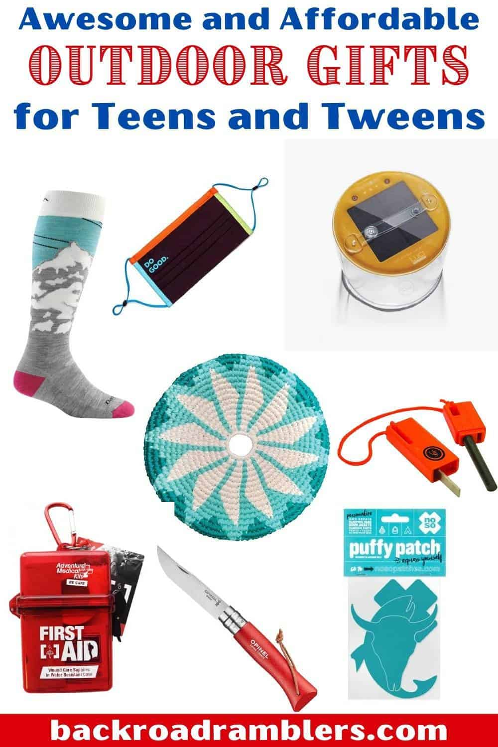 A collage of gift ideas for outdoor teens and tweens.