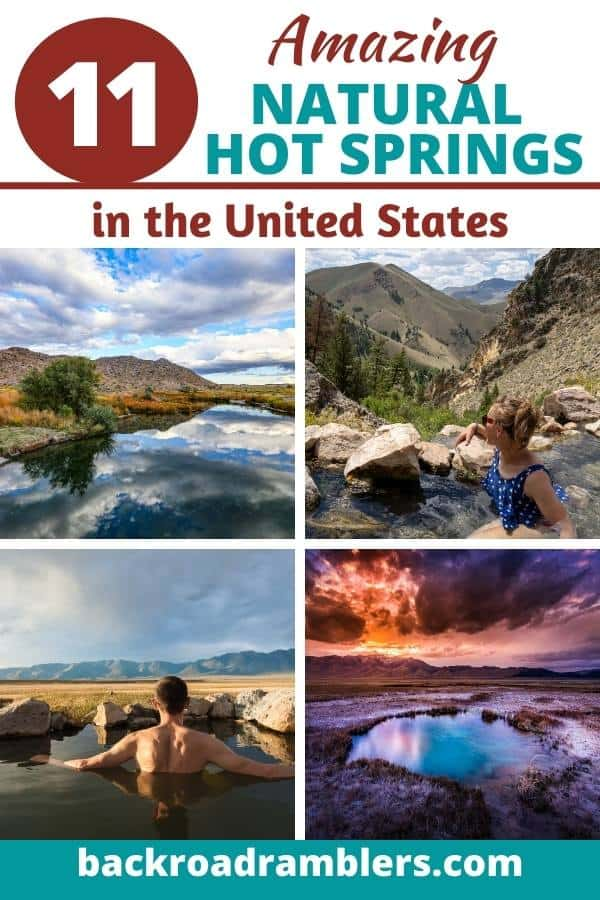A collage of natural hot springs in the United States