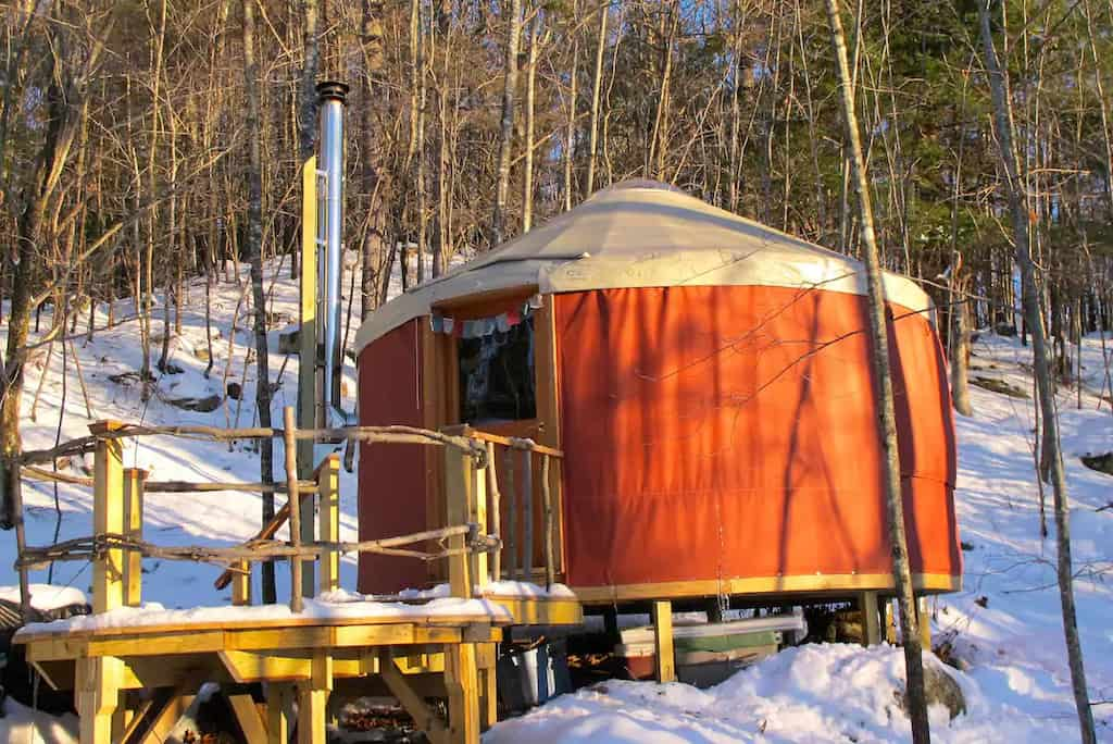 A winter glamping yurt in Denmark, Maine. Photo credit: Airbnb