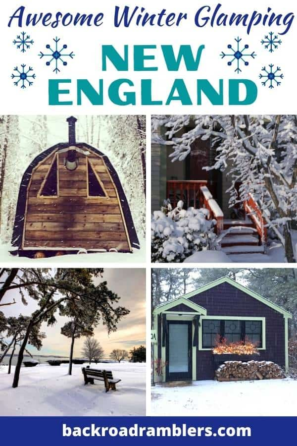 A collage of winter glamping photos from New England. credit to Airbnb