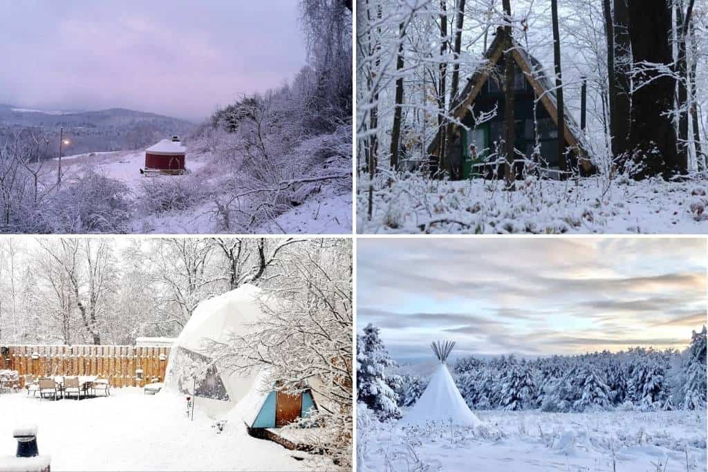 A collage of photos featuring winter glamping in New York