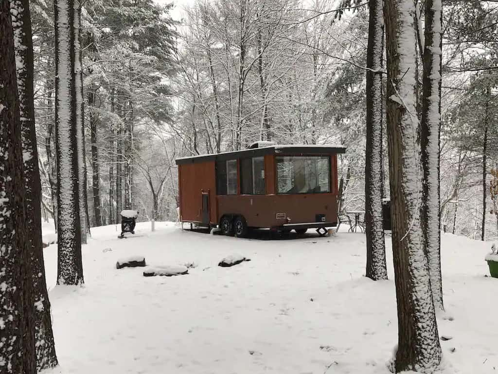 A tiny glamping house for rent in Leeds, NY. Photo credit: Airbnb